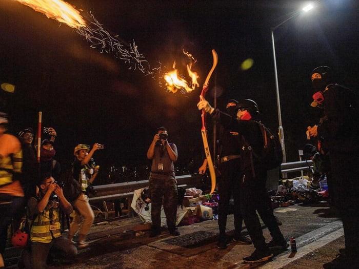 hong-kong-protestors-shooting-fire-arrows