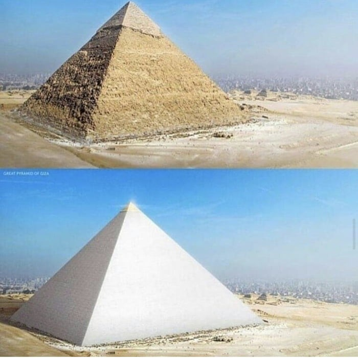 what-the-pyramid-looked-like-originally-encased-in-white-lime-stone-with-a-peak-made-of-solid-gold