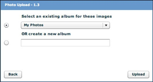 Screenshot of the Photo Upload section on Facebook