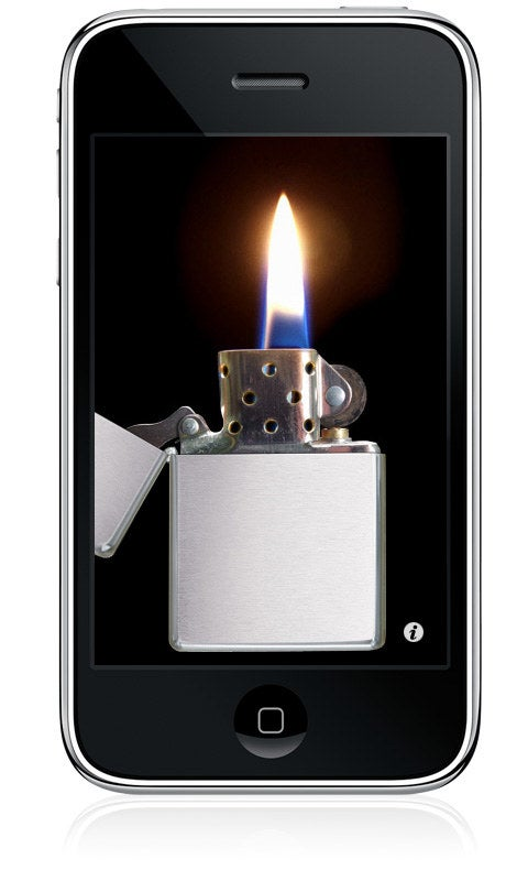 Photo of an iPhone with a Zippo lighter over the entire screen