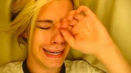 Chris Crocker under a sheet crying under a sheet