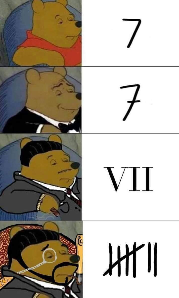 Tuxedo Winnie the Pooh memes with different versions of the number