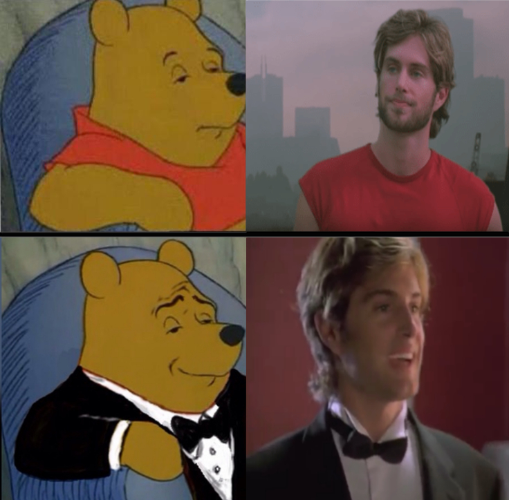 Tuxedo winnie the pooh meme with Mark from