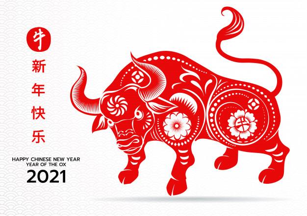 С китайским новым 2021 годом, годом быка, знак китайского зодиака. |  Премиум векторы