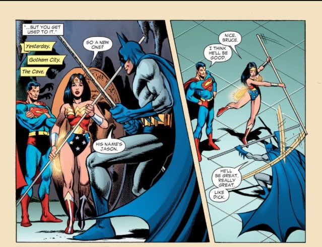"""best of Jason Todd (the pink hood) on Twitter: """"Bruce talking about Jason  to Superman and Wonder Woman. - Justice League of America 2006 #0… """""""