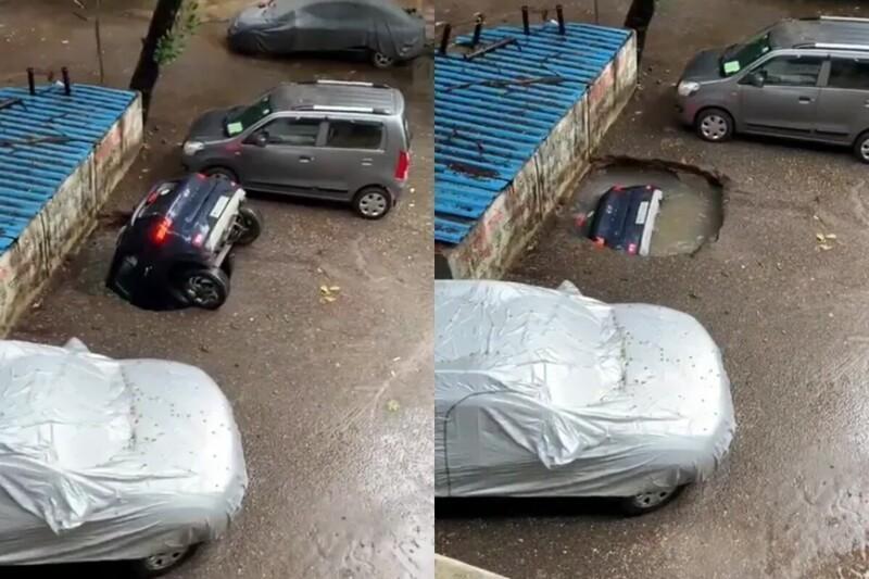 В Индии после сильных дождей прямо на парковке машину засосало под землю